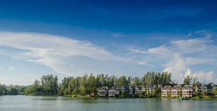 Lakeside hotel Stock Photo