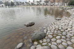 Lakeside huge pebbles in the xian museum in winter, adobe rgb Royalty Free Stock Photography