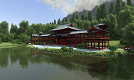 Lakeside Japanese temple Royalty Free Stock Images