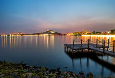 Lakeside with jetty in Putrajaya, Malaysia. Stock Photo