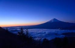 Lakeside of Kawaguchi and Mt.Fuji at dawn. Lake Kawaguchi is one of the Fuji Five Lakes. The best views of Mount Fuji can be enjoyed from the lake's northern royalty free stock photo