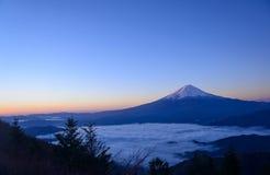 Lakeside of Kawaguchi and Mt.Fuji at dawn. Lake Kawaguchi is one of the Fuji Five Lakes. The best views of Mount Fuji can be enjoyed from the lake's northern stock image