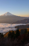 Lakeside of Kawaguchi and Mt.Fuji at dawn. Lake Kawaguchi is one of the Fuji Five Lakes. The best views of Mount Fuji can be enjoyed from the lake's northern royalty free stock photography