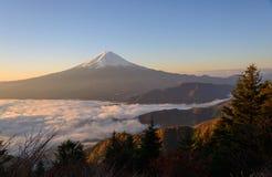 Lakeside of Kawaguchi and Mt.Fuji at dawn. Lake Kawaguchi is one of the Fuji Five Lakes. The best views of Mount Fuji can be enjoyed from the lake's northern royalty free stock photos