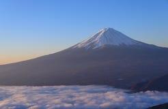 Lakeside of Kawaguchi and Mt.Fuji at dawn. Lake Kawaguchi is one of the Fuji Five Lakes. The best views of Mount Fuji can be enjoyed from the lake's northern stock photography
