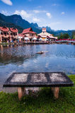 Lakeside by the mountain. View of lakeside near Mount Mat Chinchang or Mount Mat Cincang at Langkawi Island Stock Photo