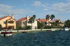 Lakeside neighborhood. Luxury homes neighborhood by the lake Stock Photo