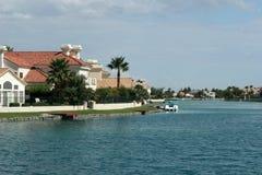 Lakeside neighborhood. Luxury homes neighborhood by the lake Royalty Free Stock Photo