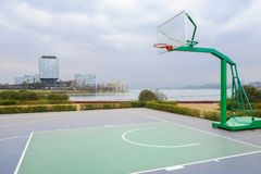 Lakeside newly built basketball court in cloudy winter afternoon. At Tianfu New Area,Chengdu,China stock photo