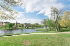 Free Lakeside Newly Built Homes Near Urban Park In America Stock Image - 113866471