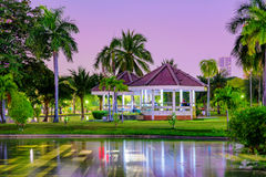 Lakeside pavilion with nature at night Stock Image