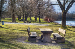 Lakeside Picnic Area Royalty Free Stock Photos