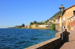 Lakeside promenade gargnano and garda lake Royalty Free Stock Images