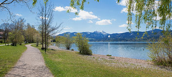 Lakeside promenade at tourist destination tegernsee. In spring stock photos