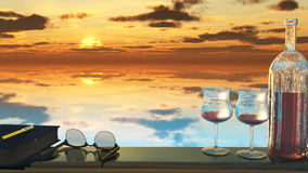 Lakeside Retreat A1. Two wine glasses, a book, and reading glasses rest on a balcony railing that overlooks a serene lake reflecting a peaceful, golden sunset Royalty Free Stock Photos