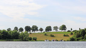 Lakeside road at lake Ziegelsee in Schwerin. In the city of Schwerin, the state capital of Mecklenburg-Vorpommern, are located eleven lakes, which characterize stock image