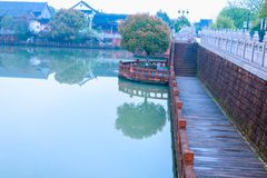 Lakeside Road-Nanchang Mei Lake Scenic Area. Nanchang Mei Lake scenic spot in detail, refined garden, curved Pavilion, platform and other types of gardens royalty free stock photography
