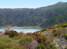 Lakeside scenery at the Azores Royalty Free Stock Photo