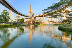 Lakeside scenery under Bhumibol Bridge or Industrial Ring Road  with view of elevated highway interchange & bridge tower Stock Photo