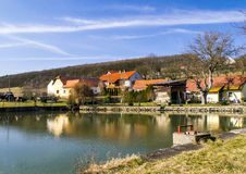 Lakeside. Spring in a little village royalty free stock image