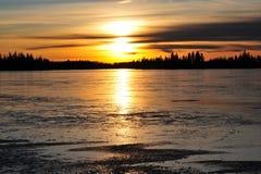 Lakeside sunset Royalty Free Stock Photography