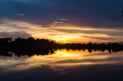 Lakeside sunset. Colors in the provinces of Thailand Royalty Free Stock Photography