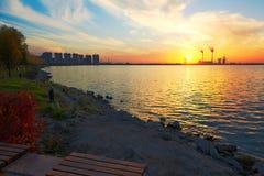 The lakeside sunset Royalty Free Stock Photo