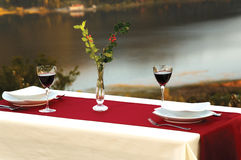 Lakeside table. Sunset in Abant, lakeside dining Stock Photography