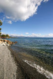 Lakeside in Tahoe. Shoreline of Lake Tahoe with waves crashing Royalty Free Stock Image