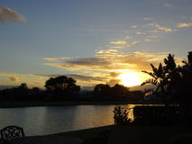 Lakeside view of palm trees and orange fiery sunset. Florida golf course sunset in paradise stock photos