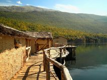 Lakeside Village. Beautiful lakeside village with mountains in Africa stock photography