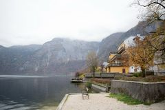 lakeside village in Europe Royalty Free Stock Image