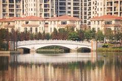 Lakeside villas royalty free stock photography