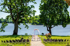 Lakeside wedding ceremony Royalty Free Stock Images