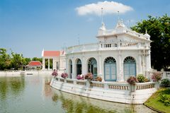 Lakeside white pavilion Royalty Free Stock Image
