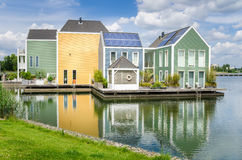 Lakeside Wooden Houses Stock Photography