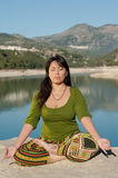 Lakeside yoga Stock Photo