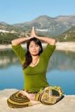 Lakeside yoga Royalty Free Stock Photography