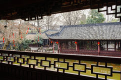 Lakesie Chinese aged gallery with latticed fence in spring after Royalty Free Stock Photography