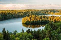 Lakesikt i Finland Arkivfoto