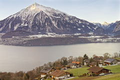Lakeview over Swiss Alps mountains in a Swiss village near the T Stock Photo