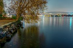 Lakeview over Zurich lake at night royalty free stock image
