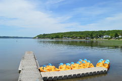 Lakeview, St-Lawrence view, pedalos. Lake, river, St-Lawrence, Quebec, Canada, nature and water and boats and pedalos Stock Images