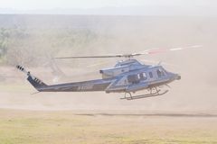 BELL 412 helicopter during Los Angeles American Heroes Air Show. Lakeview Terrace, USA - November 4, 2017:  BELL 412 helicopter during Los Angeles American Royalty Free Stock Photos