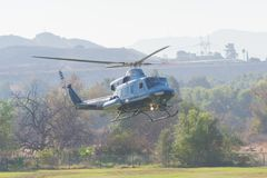 BELL 412 helicopter during Los Angeles American Heroes Air Show. Lakeview Terrace, USA - November 4, 2017:  BELL 412 helicopter during Los Angeles American Royalty Free Stock Photo