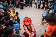 Lakhey taniec w Kathmandu Nepal, Maskowy taniec obraz stock