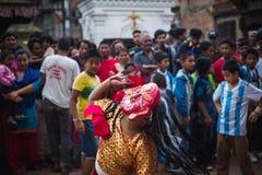 Lakhey taniec w Kathmandu Nepal, Maskowy taniec zdjęcie stock