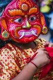 Lakhey-Tanz in Kathmandu Nepal, Masken-Tanz lizenzfreie stockfotos