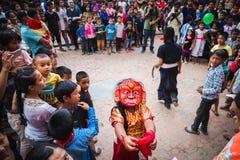 Lakhey-Tanz in Kathmandu Nepal, Masken-Tanz stockfotos