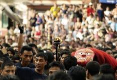 Lakheydans in Indra Jatra in Katmandu, Nepal stock afbeeldingen